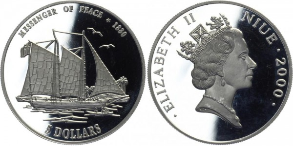 NIUE 5 Dollars 2000 - Bote des Friedens