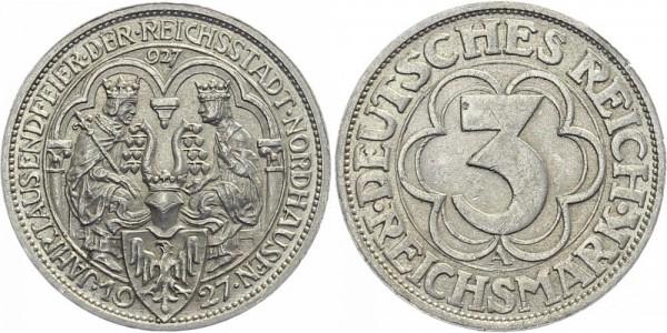 Weimarer Republik 3 Mark 1927 A 100 Jahre Nordhausen