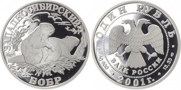 Russland 1 Rubel 2001 - Westsibirischer Biber