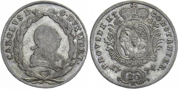 WÜRTTEMBERG 20 Kreuzer 1774 - Kursmünze