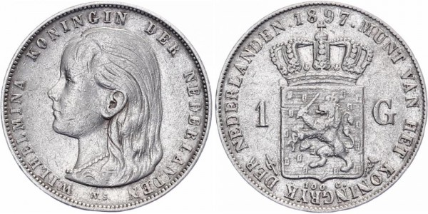 Niederlanden 1 Gulde 1897 - Wilhelmina