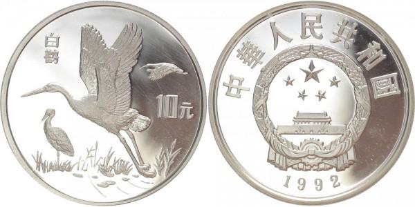 China 10 Yuan 1992 - Schwarzschnabelstörche