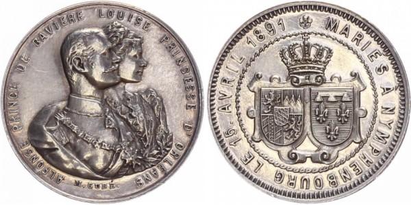Bayern Medaille 1891 - Vermählung Alfons mit Luise v. Orleans