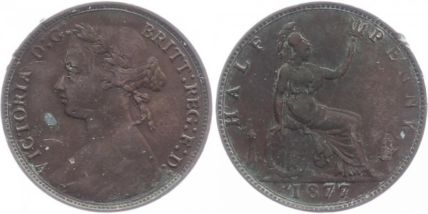 Großbritannien 1/2 Penny 1877 - Victoria