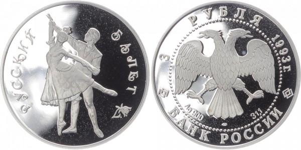 Russland 3 Rubel 1993 - Russisches Ballett