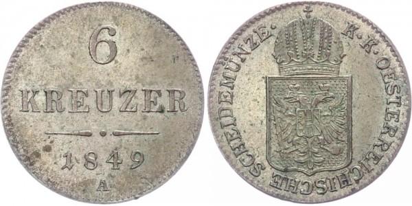 Österreich 6 Kreuzer 1849 A Kursmünze