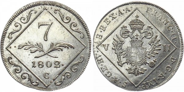 Österreich 7 Kreuzer 1802 C Kursmünze