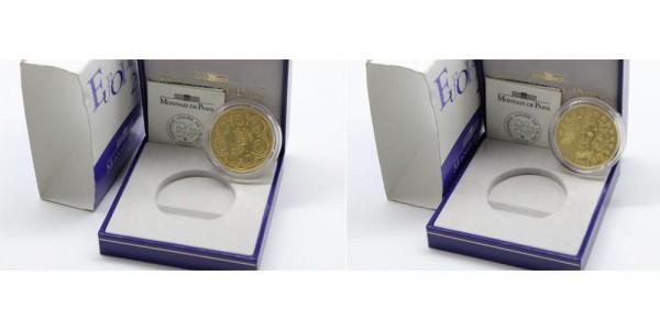Frankreich 20 Euro 2002 Einführung Euro, 1/2 OZ, PP, inkl. original Etui und OVP
