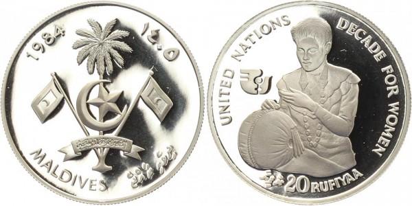 Malediven 20 Rufiyaa 1985 - Jahrzehnt der Frau, Auflage nur 500 Stück!
