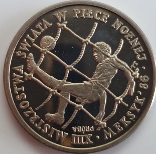 Polen 200 Zloty 1985 Fußball Weltmeisterschaft 1986 Mexico (PROBE) PP
