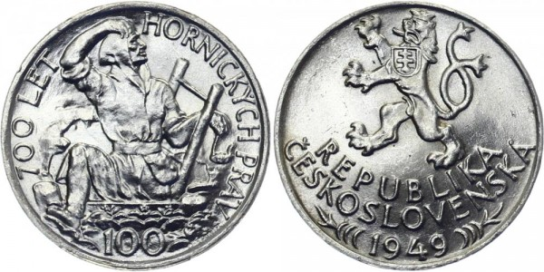 CSR 100 Kč 1949 - 700 Jahre Bergbau