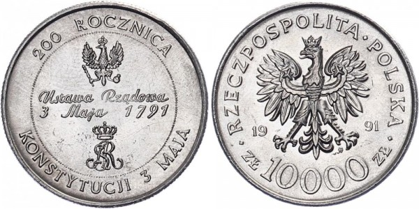 Polen 10000 Zlotych 1991 - 200 Jahre polnische Verfassung