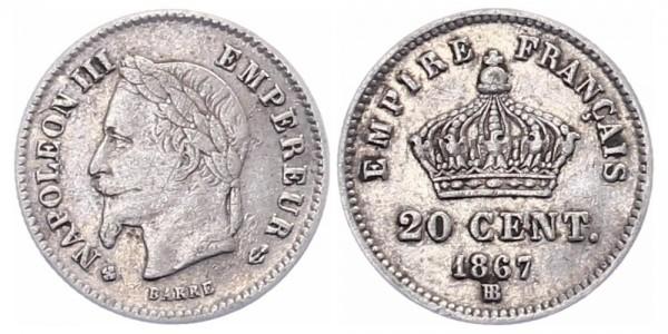 Frankreich 20 Centimes 1867 BB Napoleon III.