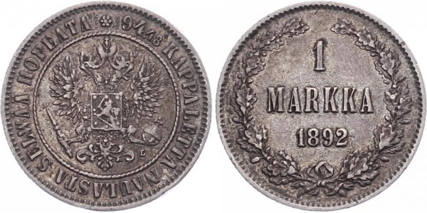 Finnland 1 Markka 1892 - Kursmünze