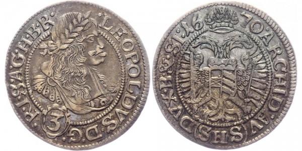 RDR, Habsburg 3 Kreuzer 1670 SHS (Breslau) Leopold I. 1657-1705