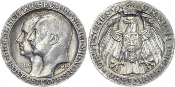 PREUSSEN 3 Mark 1910 A Wilhelm II. Uni Berlin