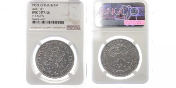 Weimarer Republik 5 Mark 1930 E Eichbaum