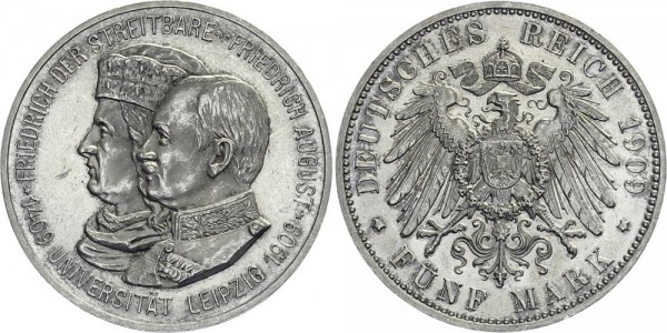 SACHSEN 5 Mark 1909 E Friedrich August III. Uni Leipzig