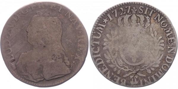 Frankreich 1 Ecu 1727 CC (Besançon) König Ludwig XV. ( 1715 - 1779 )
