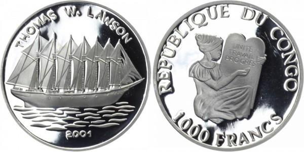 KONGO 1000 Francs 2001 - Thomas W. Lawson