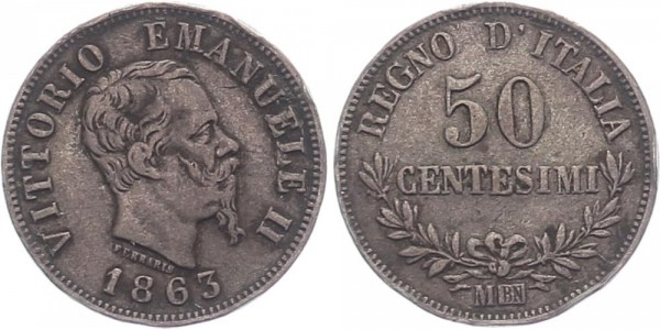 Italien 50 Centesimi 1863 M Vittorio Emanuele II.