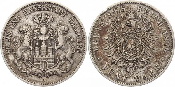 Hamburg 5 Mark 1876 - Stadtwappen