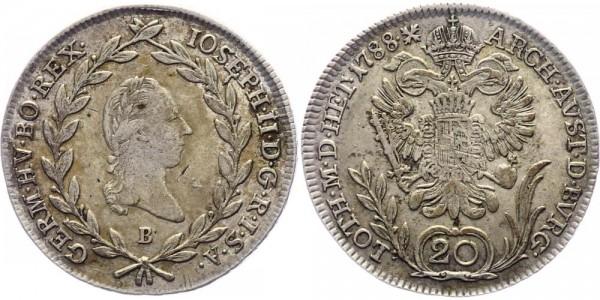 RDR/Österreich/Haus Habsburg 20 Kreuzer 1788B Kremnitz Joseph II. ( 1781 - 1790 )