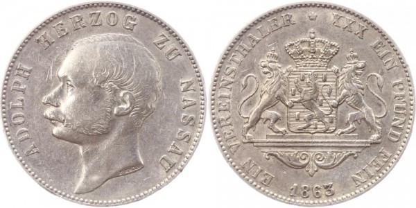 Nassau Taler 1863 - Adolph