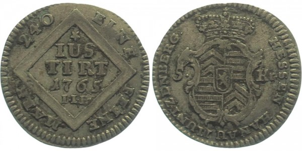 Hanau-Münzenberg 5 Kreuzer 1765 IIE, Hanau Wilhelm IX., Langraf von Hessen-Kassel