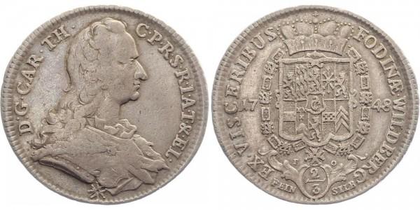 Pfalz-Sulzbach Ausbeutethaler 1748 - Karl Theodor