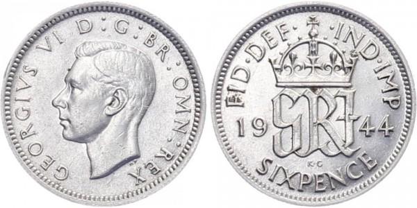 Großbritannien 6 Pence 1944 - Georg VI.