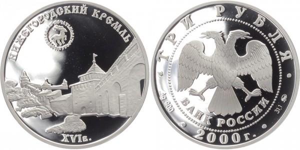 Russland 3 Rubel 2000 - Kreml von Novgorod
