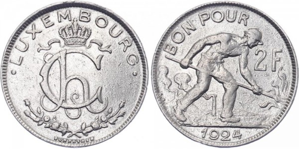 Luxemburg 2 Franken 1924 - Kursmünze