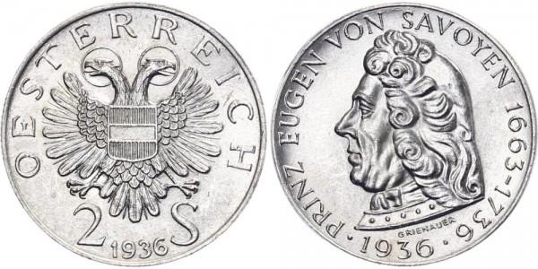 Österreich 2 Schilling 1936 - Eugen von Savoyen
