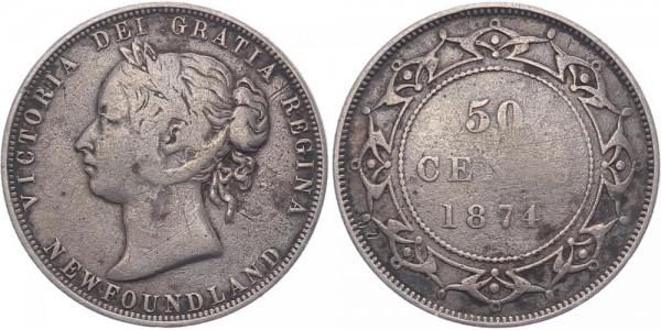 Neufundland 50 Cents 1874 Kanada Victoria