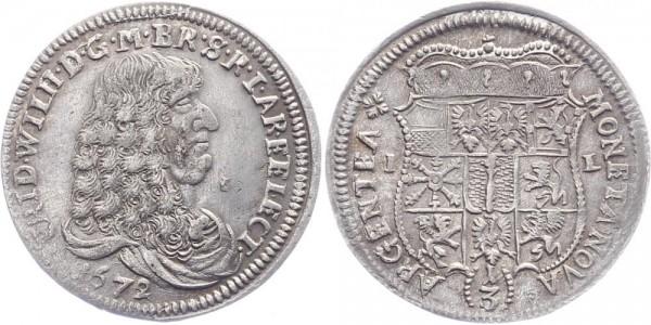 Brandenburg-Preußen 1/3 Taler 1672 IL Friedrich Wilhelm