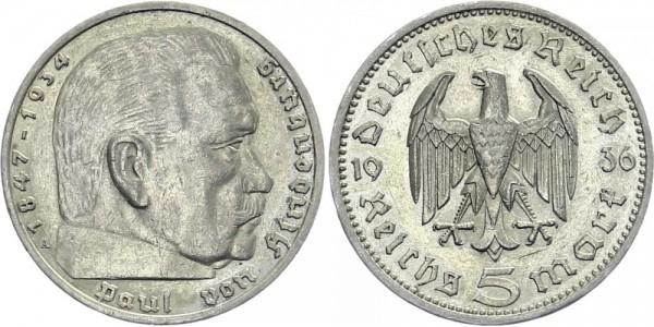 DRITTES REICH 5 Mark 1936 F Hindenburg