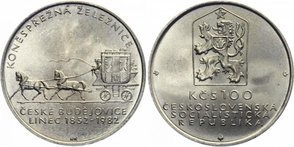 CSSR 100 Kč 1982 - Pferdebahn