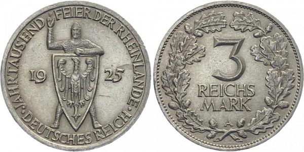 Weimarer Republik 3 Mark 1925 A Rheinlande