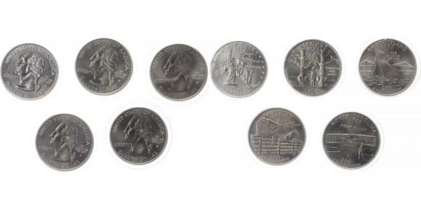 USA 5x Quarter Dollar 2001 - Serie