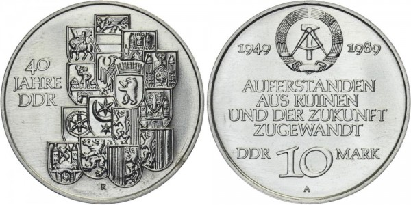 DDR 10 Mark 1989 A 40 Jahre DDR