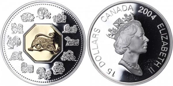 Kanada 15 Dollars 2004 - Jahr des Affen