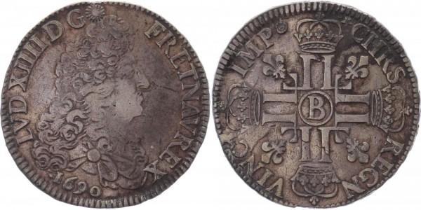 Frankreich Ecu 1690 Rouen (B) Ludwig XIV., Sonnenkönig