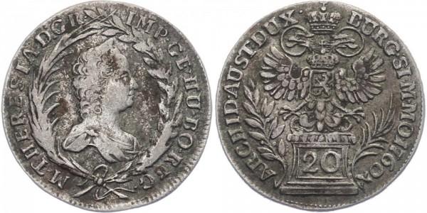 Ungarn 20 Kreuzer 1760 Prag Maria Theresia 1740 - 1780