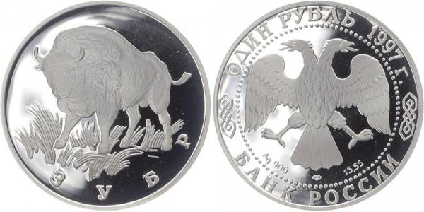 Russland 1 Rubel 1997 - Wisent