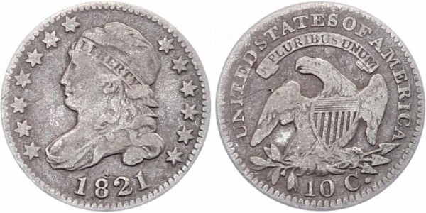 USA 10 Cents 1821