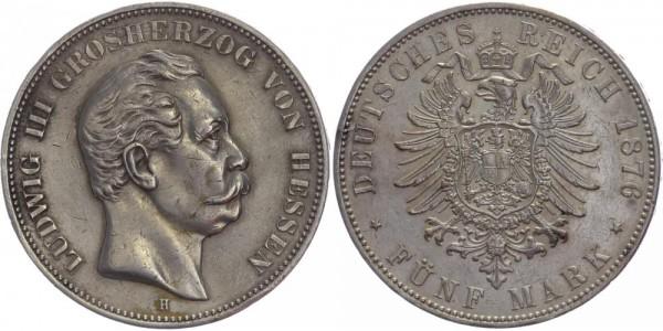 Hessen 5 Mark 1876 H Ludwig III.