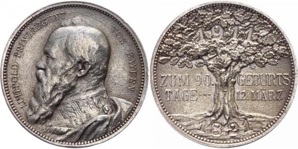 Bayern Medaille 1911 München Luitpold ( 1887 - 1912 ), Prinzregent von Bayern, auf seinen 90. Geburt