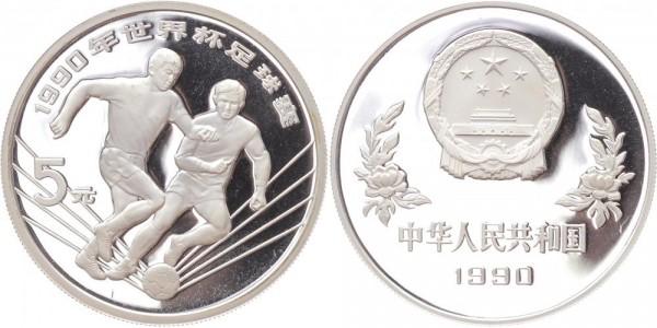 China 5 Yuan 1990 - Fussball WM Italien