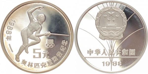 China 5 Yuan 1988 - Olympische Spiele Fechten